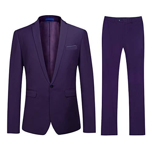 YOUTHUP Abito Uomo Elegante Completo 2 Pezzi Blazer Pantaloni 93bc57b579a