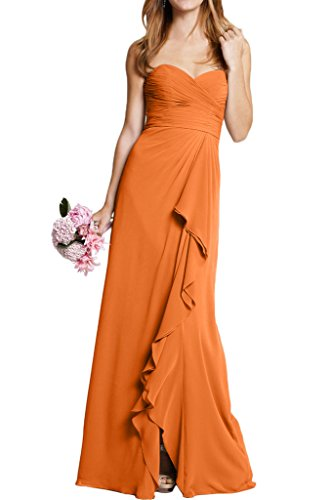 Sunvary Damen Herzform Chiffon Bodenlang Abendkleider Neu Promkleider Orange