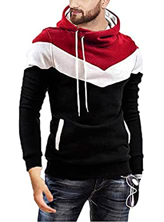Leotude Cotton Maroon White Black Hoodie Jacket for Men (Black, Small)