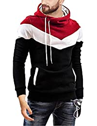 Leotude Cotton Maroon White Black Hoodie Jacket for Men