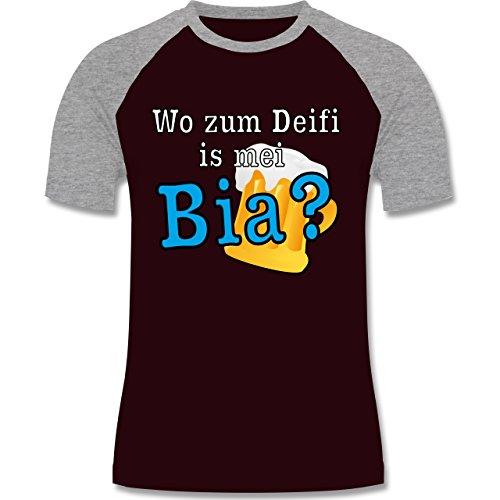 Après Ski - Wo zum Deifi is mei Bia? - zweifarbiges Baseballshirt für Männer Burgundrot/Grau meliert