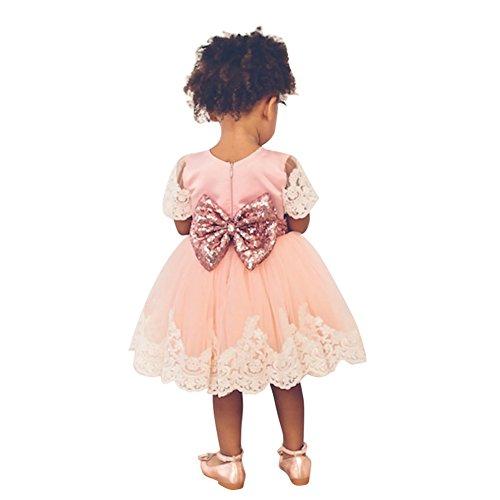 Alt Kleider Baby-mädchen 1 Jahr (Rosa Kleinkinder Baby Mädchen Kleider hibote Taufkleid Spitze Prinzessin Kleid Hochzeit Festlich Partykleid Tüll Festzug Bowknot Röcke 1-2 Jahre alt)