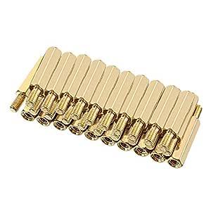 uxcell 32pcs M3 18+6mm Female Male Thread Brass Round Standoff Spacer Screw PCB Pillar