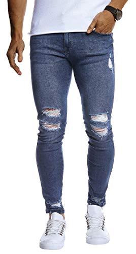 Leif Nelson Herren Jeans Hose Slim Fit Denim Blaue graue Lange Jeanshose für Männer Coole Jungen weiße Stretch Freizeithose Schwarze Cargo Chino Sommer Winter Basic LN9145 Blau W32/L30