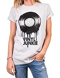 34c38e2f8882 MAKAYA Rockiges Musik T-Shirt Damen - Vinyl Junkie - Oversize Top mit  Aufdruck Schallplatte
