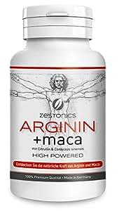 L-Arginin Base 1.200mg (entspr. 2.400mg Arginin HCL) plus Maca Extrakt 680mg (entspr. 34.000mg Maca Pulver) HOCHDOSIERT mit Citrullin & Cordyceps sinensis - Monatsbedarf von zestonics