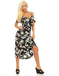 11535 Fashion4Young Damen Wickelkleid Sommerkleid Blumenmuster Vokuhila Spaghettiträger Geblümt Wickeloptik