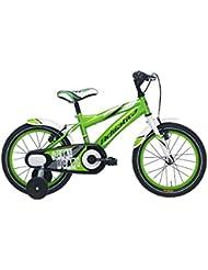 Bicicleta Niño 16 Pulgadas Frenos al Manillar y Ruedas Extraibles Verde