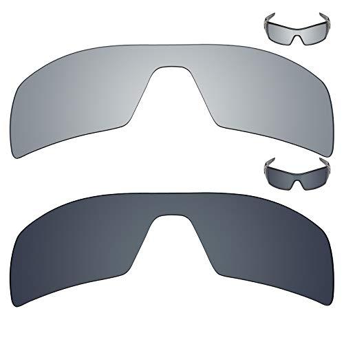 MRY 2Paar Polarisierte Ersatz Gläser für Oakley Oil Rig Sonnenbrille-Rich Option Farben, Silver Titanium & Black Iridium