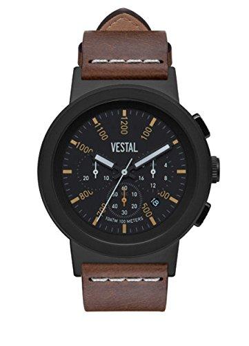 Vestal Reloj de cuarzo de acero inoxidable y cuero, color: marrón (modelo: SLR44CL03.LBWH)