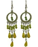 Pale Green Plastic Round Shape Beads Pendant Metal Frame Earrings