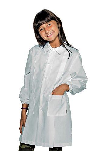 Grembiule pollicino isacco per scuola elementare 7-11 anni (10 anni, bianco)