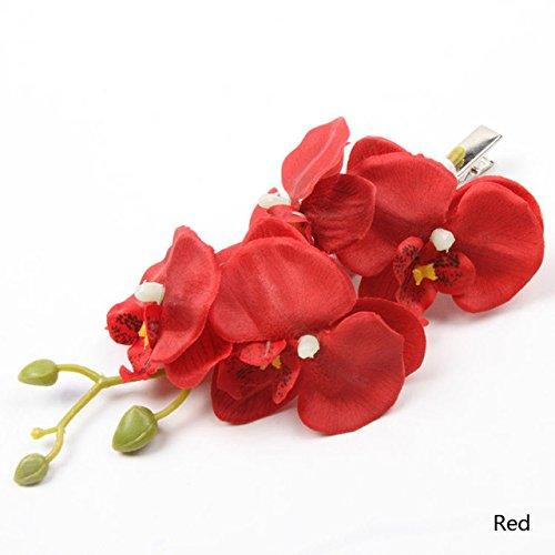 Mariposa-Orqudea-pelo-Clip-Gran-pelo-flores-zeig-en-rojo