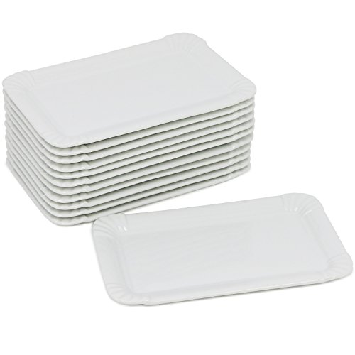 COM-FOUR® 12x Edler Porzellan-Teller in Pappoptik, Dessert-Teller in weiß, Snack-Teller, rechteckig, 20,5 x 13 cm (12 Stück - flach) - Dessert-teller