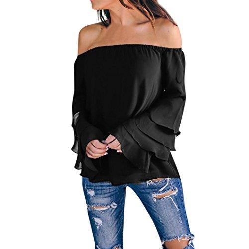 ESAILQ Damen Basic V-Ausschnitt Kurzarm T-Shirt Falten Tops mit Knopf(XL,Schwarz)