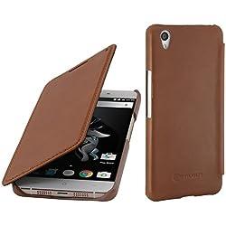 STILGUT Housse en Cuir Compatible avec OnePlus X, avec Fonction Mise en Veille Automatique et à Ouverture latérale, Cognac