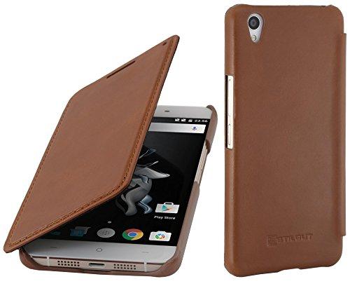StilGut Book Type Case, Hülle aus Leder für OnePlus X, Cognac