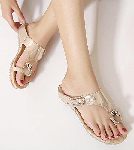 ... Minetom Femmes Été Élégant Strass Perlés Sandales Plates Tongs  Anti-dérapant Chaussures De Plage Respirant ... bdf7180a5740