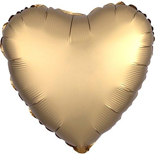 Kostüm Satin Avenue - Amscan 3680301 Folienballon Herz, Sd-h: Satin Gold Sateen Heart, Herz, 43 cm