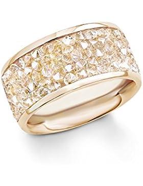 s. Oliver Damen-Ring Swarovski Elements Edelstahl teilvergoldet Kristall weiß Rundschliff - 540