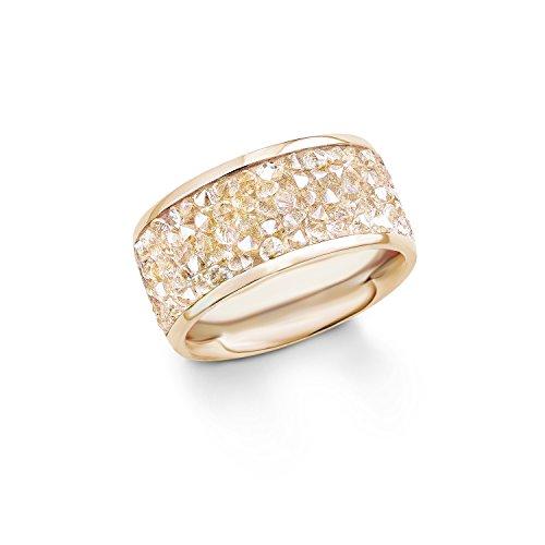 s. Oliver Damen-Ring Swarovski Elements Edelstahl teilvergoldet Kristall weiß Rundschliff Gr. 52 (16.6) - 540285