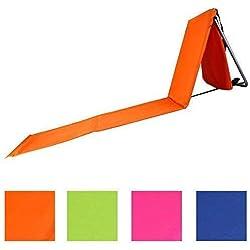 Faltbare Strandliege mit Lehne und Tasche in 4 sommerlichen Farben Modell RELAX (Orange)