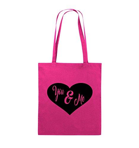Comedy Bags - YOU & ME - HERZ NEGATIV - Jutebeutel - lange Henkel - 38x42cm - Farbe: Schwarz / Pink Pink / Schwarz