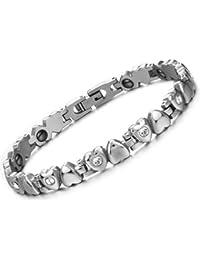 OPK Ms. Love Rhinestone CZ & Energy Magnetic Stone Anti-Fatigue & Radiation Titanium Bracelet Bangles Best Gift! BP2Opk