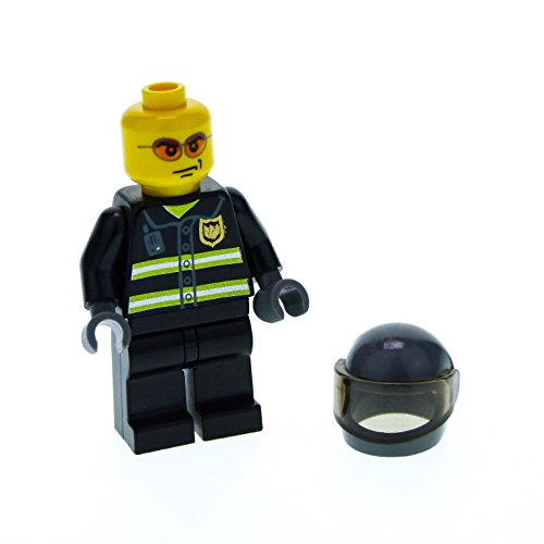 1 x Lego System Figur Mann Feuerwehr Torso schwarz Reflektierende Streifen Hände grau Sonnenbrille orange Motorrad Helm neu-dunkel grau cty003