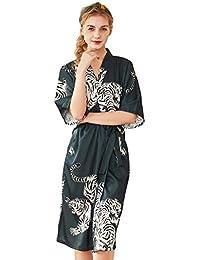 SXSHUN Kimonode Mujeres Pijama de Satén Bata con 3/4 Manga con Estampado de Tigre