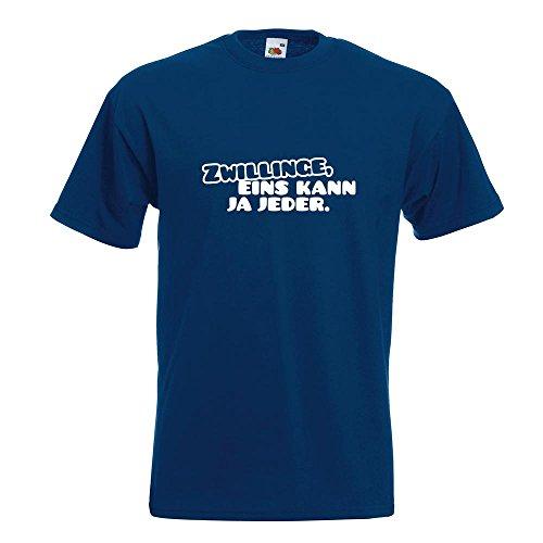 KIWISTAR - Zwillinge, eins kann jeder! T-Shirt in 15 verschiedenen Farben - Herren Funshirt bedruckt Design Sprüche Spruch Motive Oberteil Baumwolle Print Größe S M L XL XXL Navy