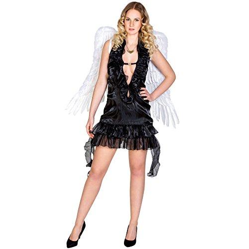 Frauenkostüm schwarzer sexy Engel | kurzes Elastik-Jersey-Kleid mit tiefem, extravagantem Ausschnitt und Tüllrüschen (XXL | Nr. 300472)