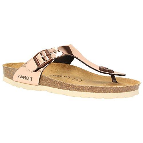 Zweigut® -Hamburg- luftig #555 Damen Zehentrenner Sandalen Schuhe Sommer mit Leder-Komfort-Fußbett, Schuhgröße:37, Farbe:Kupfer