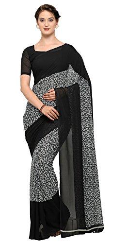 Vaamsi Polyester Printed Saree(PC1015_Black_Free Size)