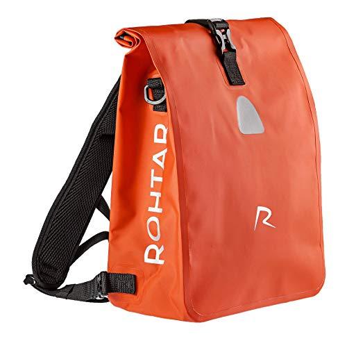 Rohtar 3in1 Fahrradtasche - wasserdicht & reflektierend - als Gepäckträgertasche, Umhängetasche & Rucksack einsetzbar - ideale Gepäcktasche fürs Fahrrad - 18L (schwarz/gelb/rot)