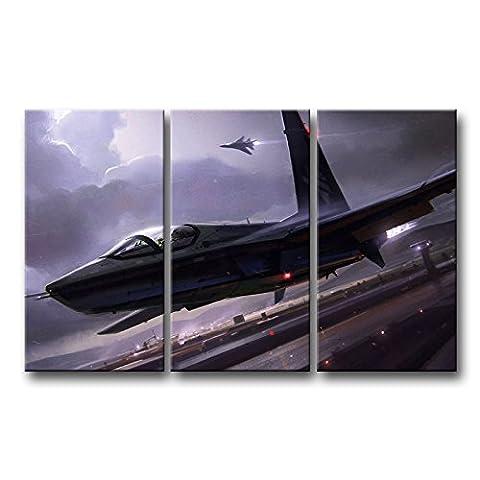 3pièces Décoration murale Tableau Avion Fighter Take Off en Storm Nuit des Impressions sur toile images à la durabilité à l'huile pour Home Décor Imprimé moderne Décoration