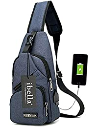 Sling Bag with USB Charging Port Crossbody Canvas Chest Bag for Men Women Lightweight Hiking Travel Backpack Daypack