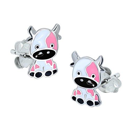 Kuh Ohrringe-Sterling Silber-Pink & Weiß (Sterling Silber Kuh-ohrringe)
