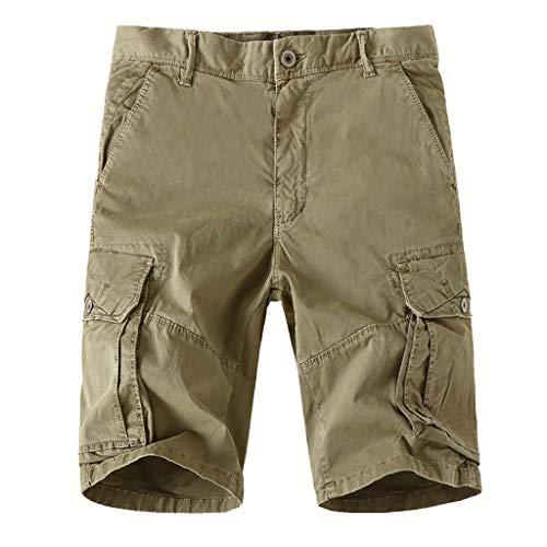 Khaki Bdu Shirt (Binggong Herren Kurze Hosen Cargo Shorts VintageComfort SweatshortsKhaki Sommer Bermuda Freizeitshorts)