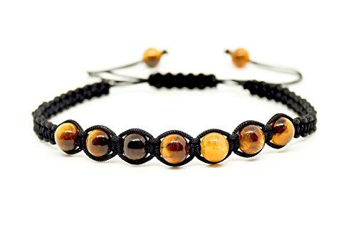 Mister Boncuk Tiger Auge Makramee Armband aus 6mm Tigeraugen Perlen für Damen und Herren - Chakra - Yoga - Sport - Freizeit - Fitness - Shamballa - Geschenkidee - Handmade