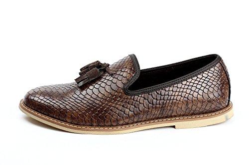 uomo in pelle da infilare Nappa Scarpe casual elegante italiana moda pelle di serpente Caffè