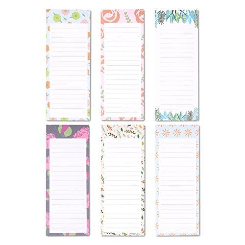 Magnetischer Notizblock von Juvale (6er Set) - Als To-Do-Liste, Einkaufszettel - Magnetische Rückseite - Liniert, Umrahmt von 6 Floralen Designs - 60 Blatt pro Block - 8,9 cm x 22,9 cm