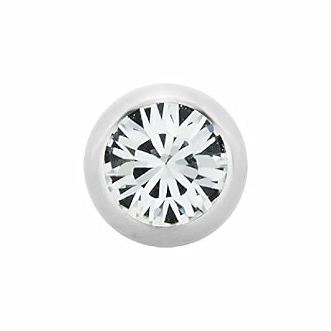 1,6 mm - 6 mm - LR - Light Rose/ Hell Rosa - Stahl - Schraubkugel - Kristall (Piercing Schraubkugel Aufsatz für Hufeisen, Stäbe, Labrets etc.)