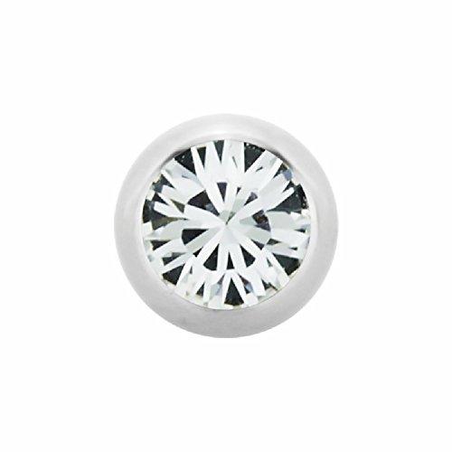 eeddoo 1,6 mm - 5 mm - PK - Pink - Stahl - Schraubkugel - Kristall (Piercing Schraubkugel Aufsatz für Hufeisen, Stäbe, Labrets etc.)