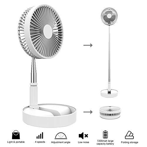 FGRYB Mini Ventilador de Pie, 1 Pieza 7200 mah 5V Ventilador USB Recargable, Portátil Telescópico Ventilador Torre, Potente Ventilador Silencioso, Ángulo Ajustable Ventilador de Sobremesa