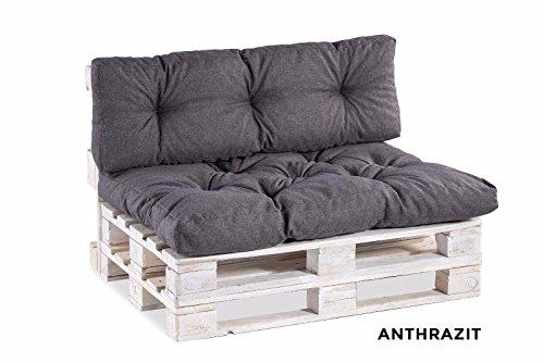Palettenkissen Palettenauflagen Sitzkissen Rückenlehne gesteppt 120x40 120x80 (Sitzkissen 120x60 gesteppt, Anthrazit) (Sitzkissen Rückenlehne Und)