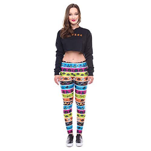 (Ruanyi Entwurfs-Frauenleggings 3D Druckten Farbstreifen Halloween-Ray-Fluoreszenz Leggins die Hose, die für Frauenyoga-Gamaschen Legging ist (Color : Yellow, Size : S))