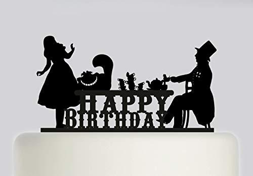 Tortenaufsatz für Geburtstagskuchen - Alice im Wunderland Mad Hatters Tea Party - Acryl Kuchendekoration - Happy Birthday