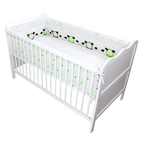TupTam Baby Nestchen für Babybett Gemustert, Farbe: Schäfchen Grün, Größe: 420x30cm (für Babybett 140x70)