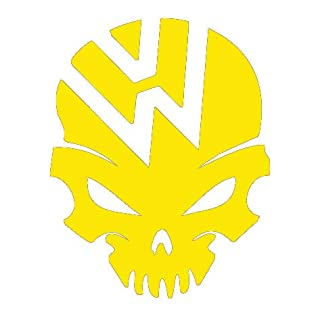 Action Retail VW – Skull self adhesive decal/sticker (Yellow)